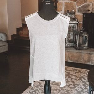 Forever 21 White Grey Studded Tank Top Small